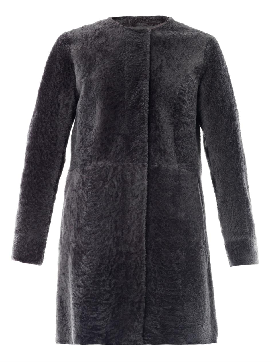 Drome Astracan Reversible Shearling Coat in Gray | Lyst