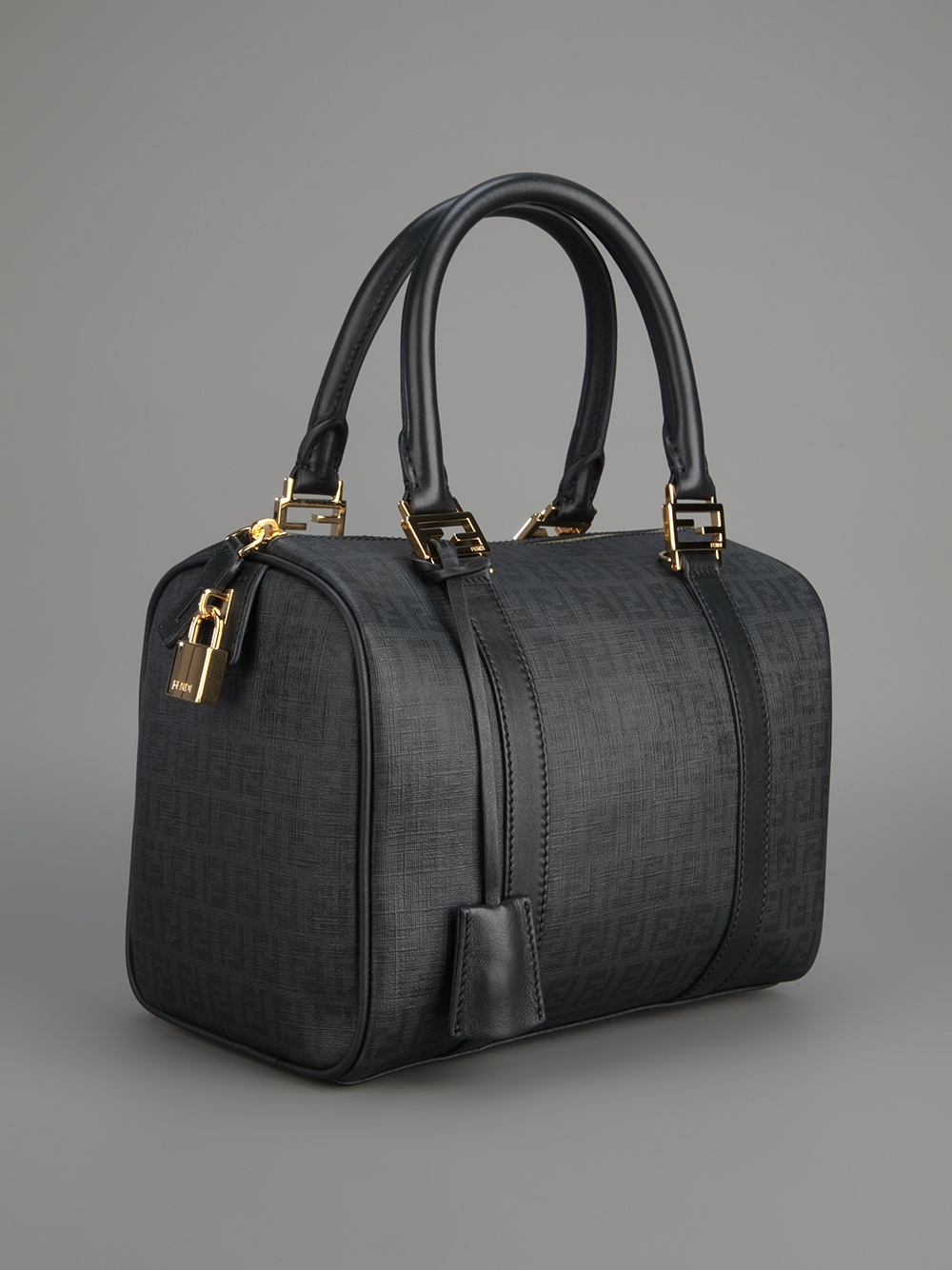 6a6d10da2225 Lyst - Fendi Logo Bowling Bag in Black