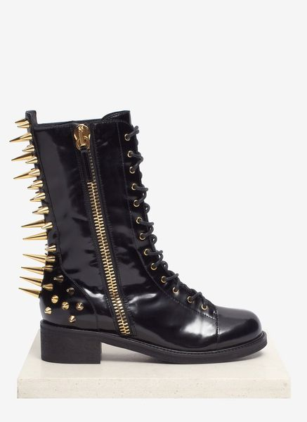 Giuseppe Zanotti Blok Spike Back Laceup Leather Boots in Black
