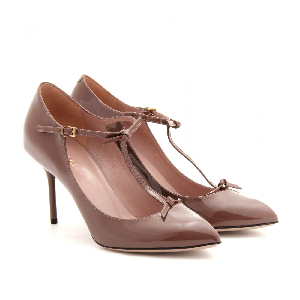 gucci beverly patent leather pumps in brown lyst