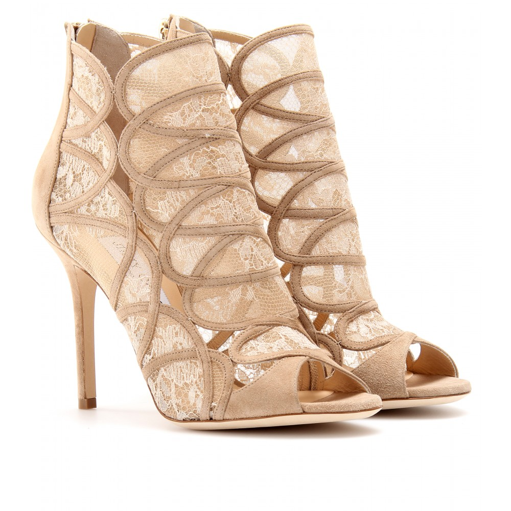 570d8ace0ec Lyst - Jimmy Choo Fauna Suede Peeptoe Ankle Boots with Lace in Natural