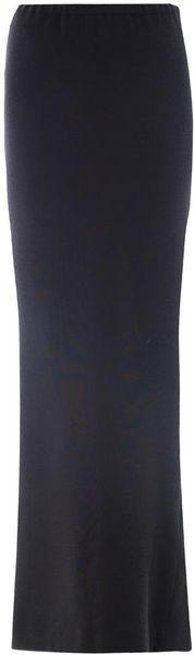 Lanvin Full Length Wool Skirt in Black