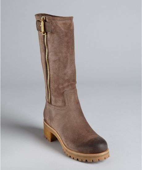 prada sport brown suede zip buckle strapped boots in brown