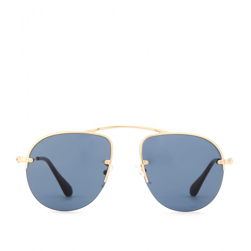 f4d2e3921de ... denmark lens 9c3ce d6978 canada lyst prada teddy aviatorstyle sunglasses  in blue 5c663 a265a 43efa 98213 ...