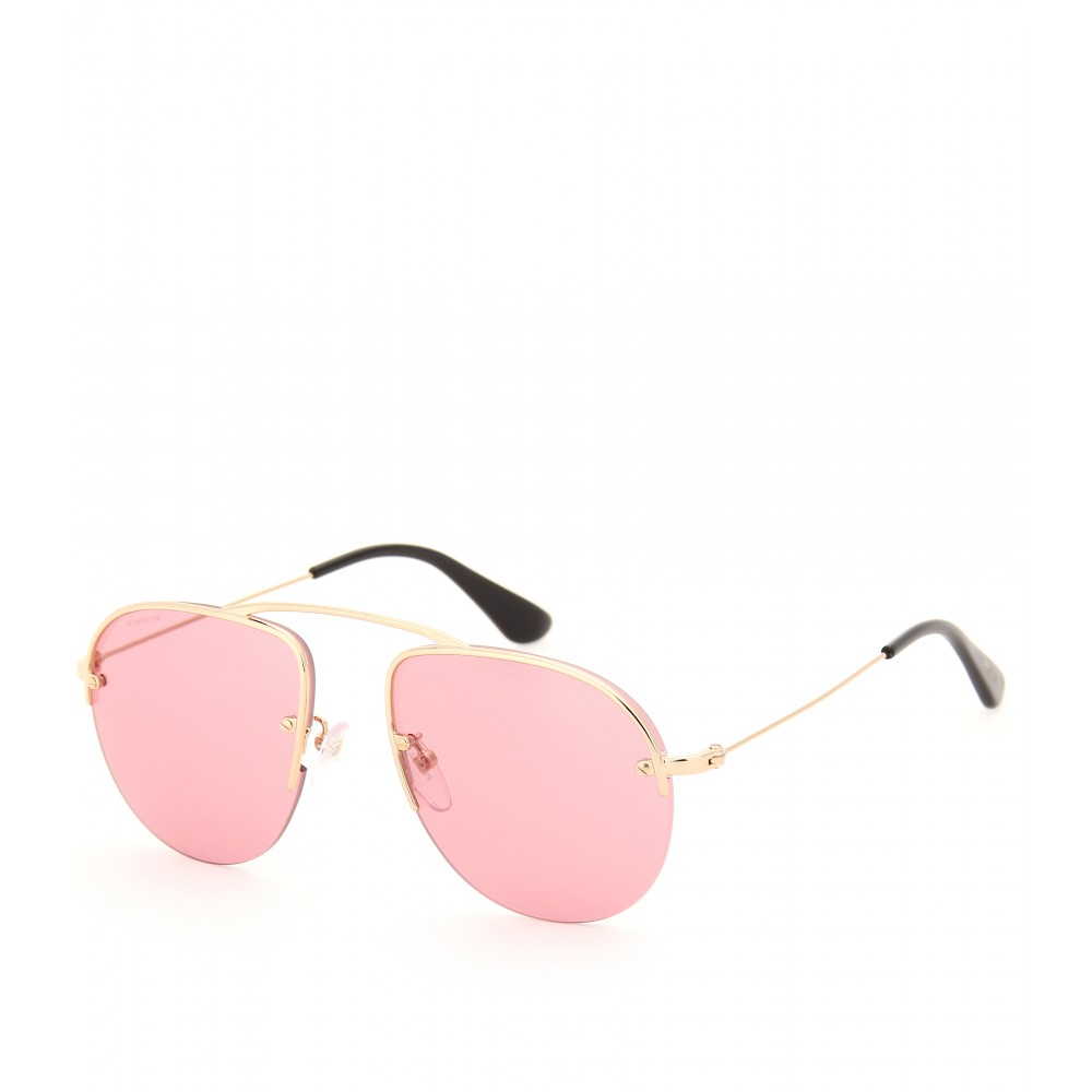 Prada Gold Frame Sunglasses : Prada Teddy Aviator Style Sunglasses in Metallic Lyst