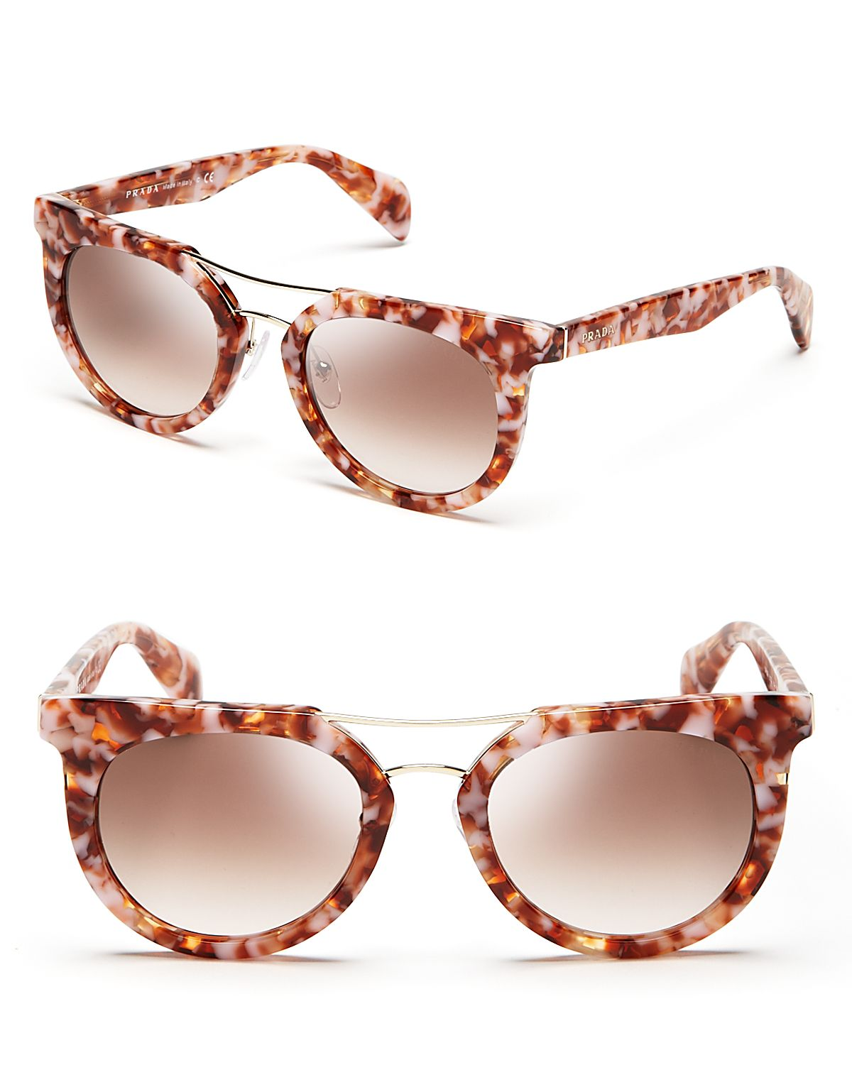 Prada Rounded Cat Eye Sunglasses Havana