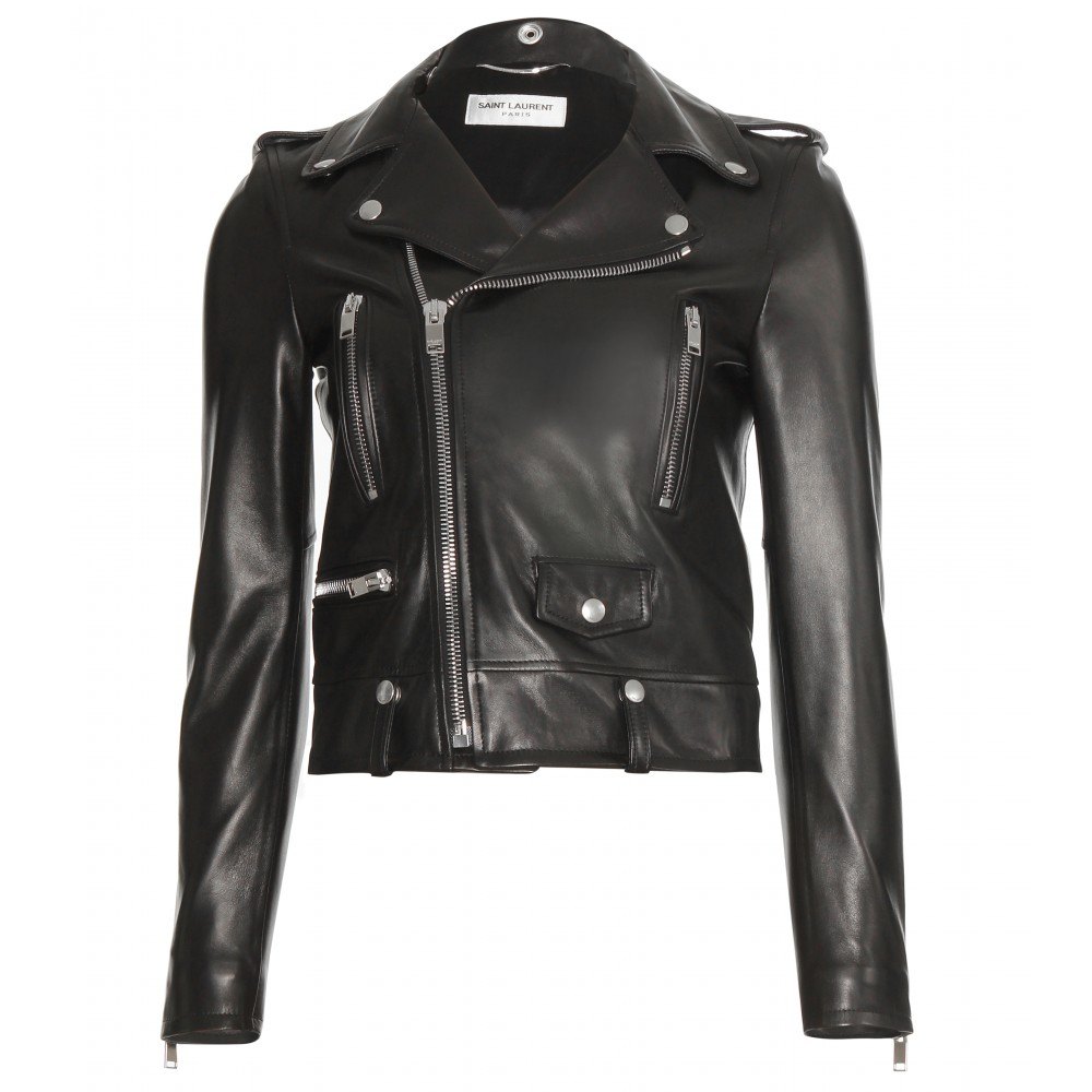 Saint laurent Leather Biker Jacket in Black | Lyst