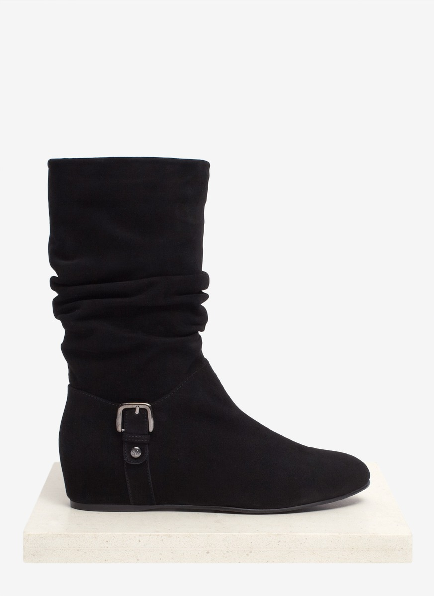 stuart weitzman rugerio ruched suede boots in black lyst