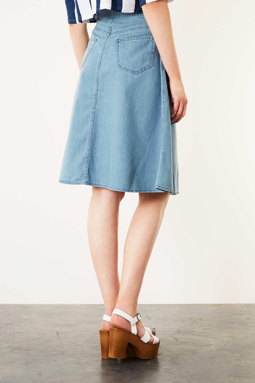 Topshop Moto Vintage Denim Midi Skirt in Blue | Lyst