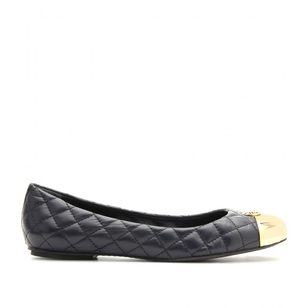 tory burch kaitlin leather ballerinas with metallic toe cap in black bright navy lyst. Black Bedroom Furniture Sets. Home Design Ideas