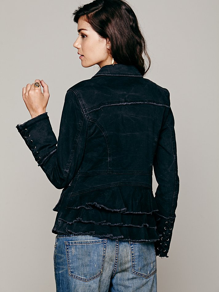 Lyst Free People Womens Military Ruffle Twill Jacket In Gray