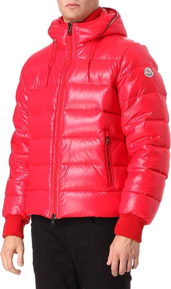 Moncler Aubert Hooded Bomber Jacket In Pink For Men Red