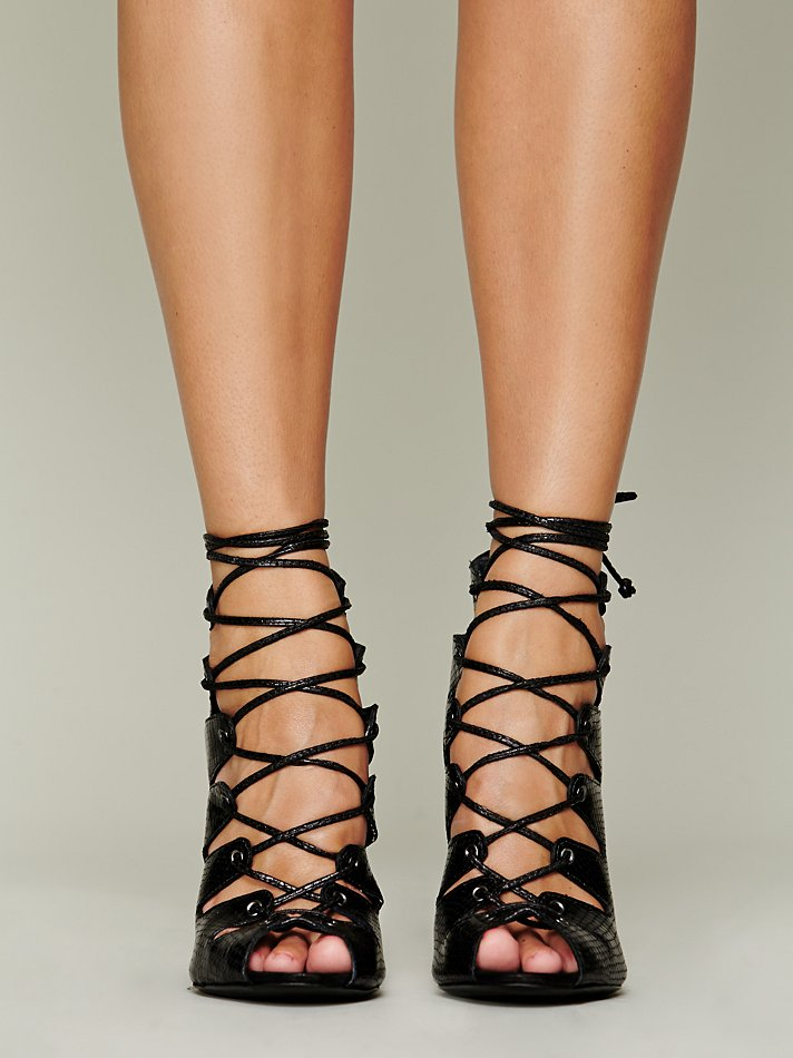 Ankle Support Shoes >> Schutz Slate Lace-Up Pumps in Black - Lyst