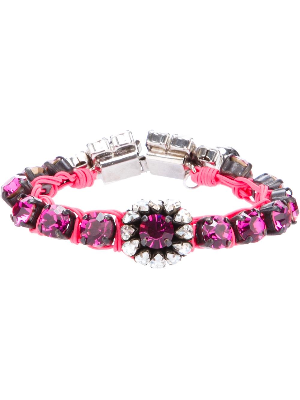 Kashmiri Fuchsia Bracelet in Pink Brass, Swarovksi Crystals and Raffia Shourouk