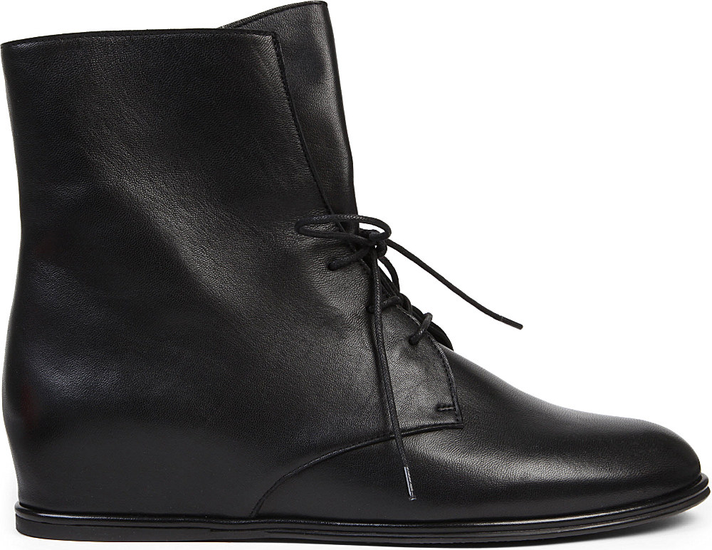 Stuart Weitzman Step Mistress Leather Ankle Boots in Black