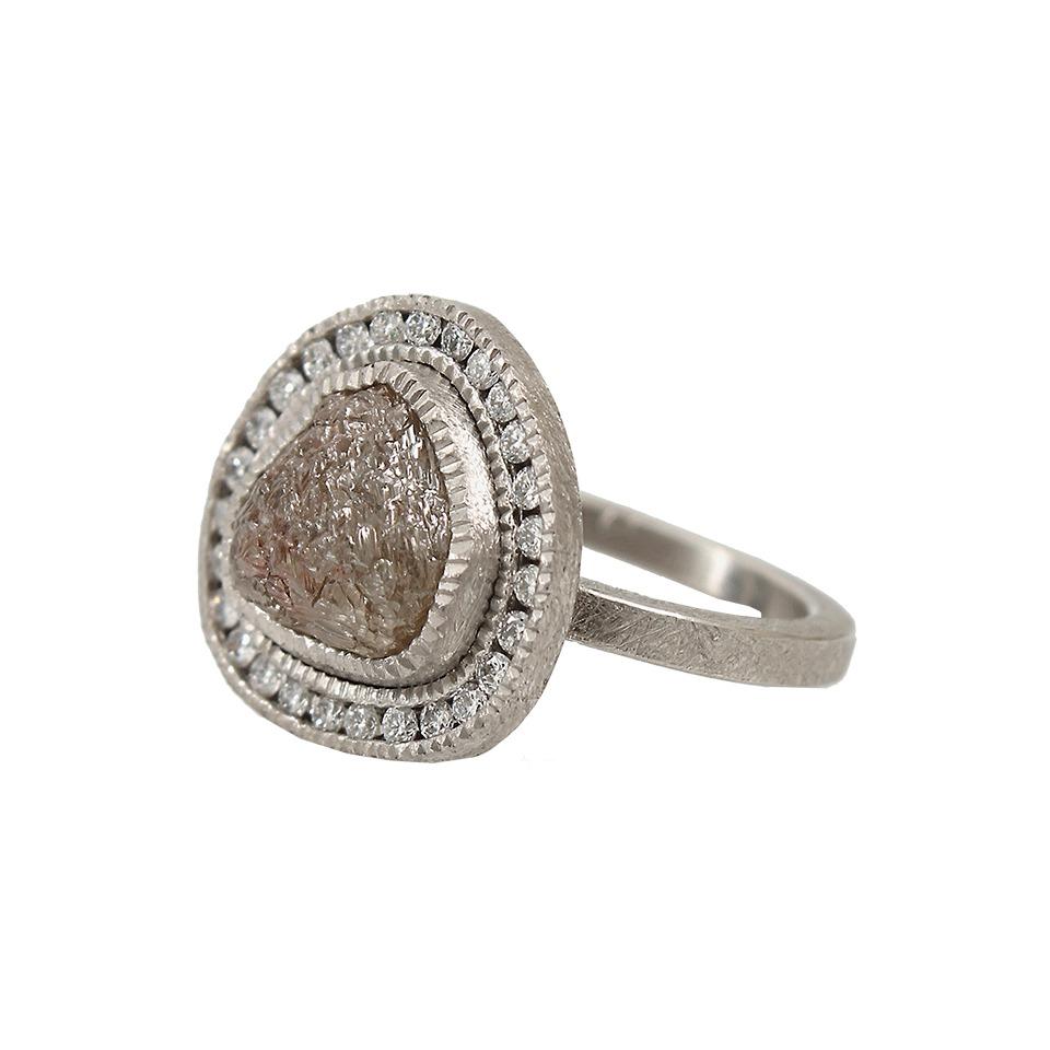 Todd reed Raw Diamond Ring with White Brilliant Diamonds ...