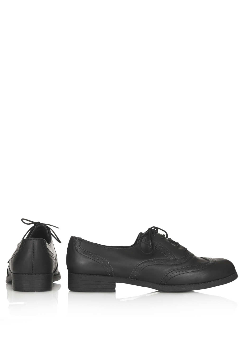 topshop multiply brogue lace up shoes in black lyst