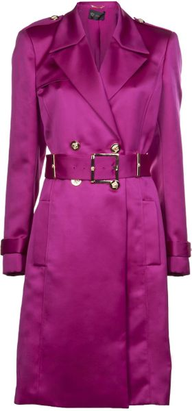Versace Double Breasted Trench Coat in Purple (pink)