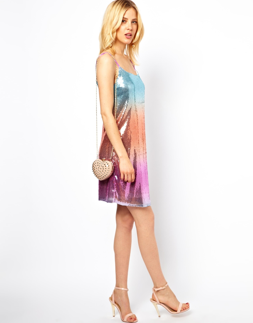 d0b74d4d2d Stussy Asos Petite Rainbow Sequin Cami Dress - Lyst