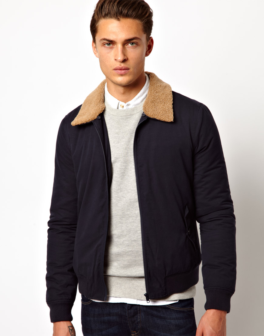 Asos Bomber Jacket With Removable Fleece Collar in Black for Men