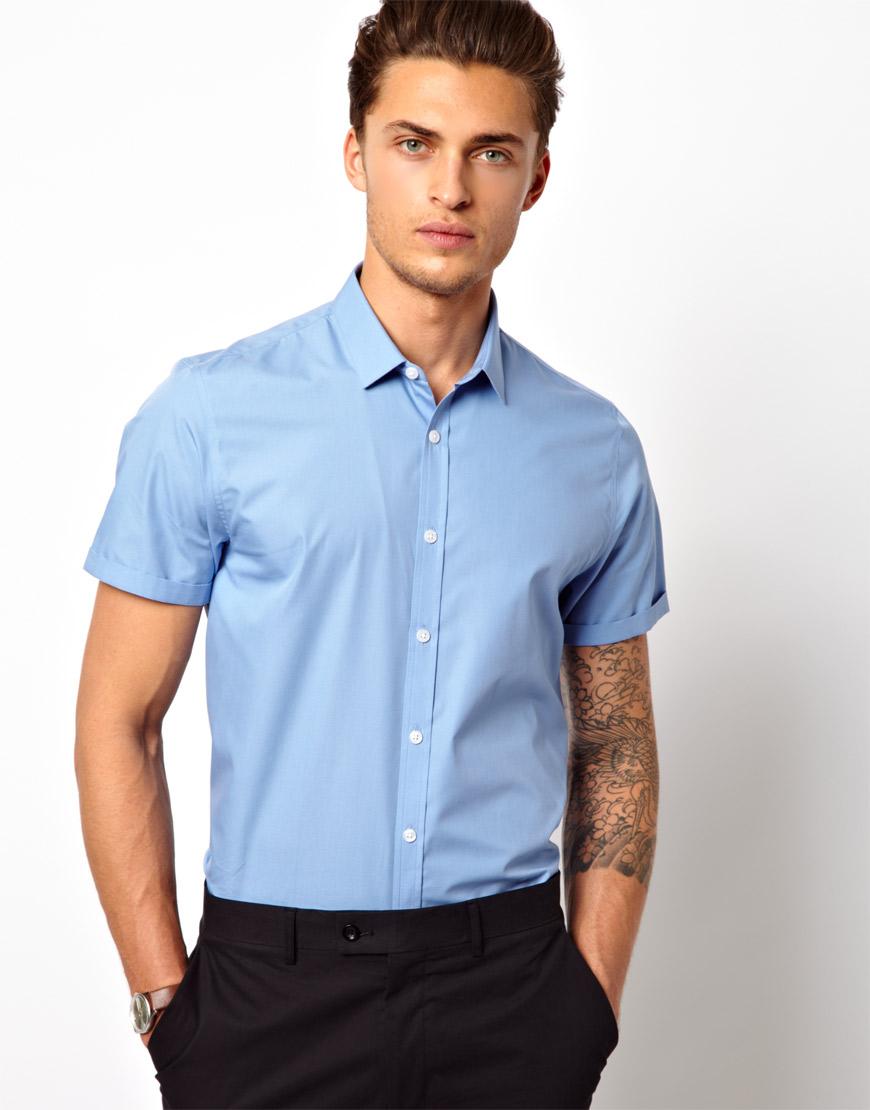Lyst - Asos Smart Shirt in Short Sleeve in Blue for Men