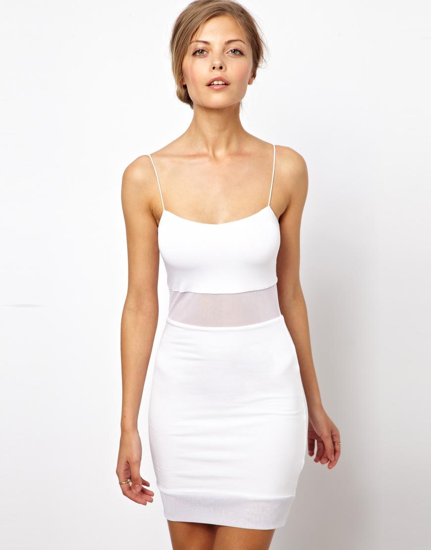 Asos Sheer Panel Mini Dress In White Lyst