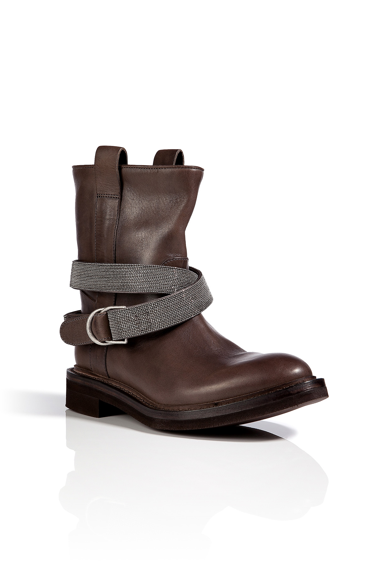 Brunello Cucinelli Leather Embellished Strap Boots In