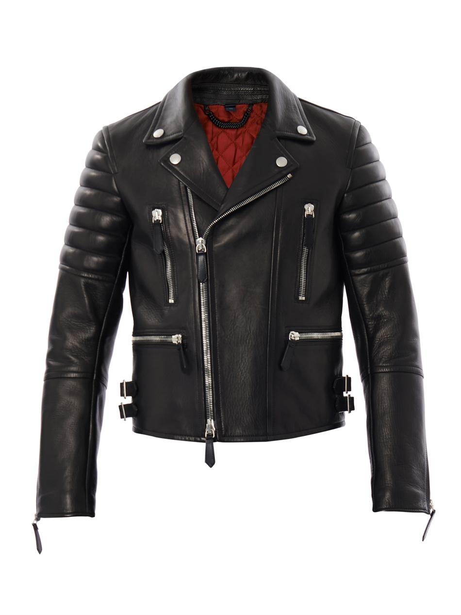 Burberry Prorsum Leather Biker Jacket In Black For Men Lyst