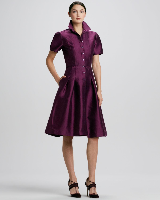 Carolina herrera Full-skirt Satin Shirt-dress in Purple | Lyst