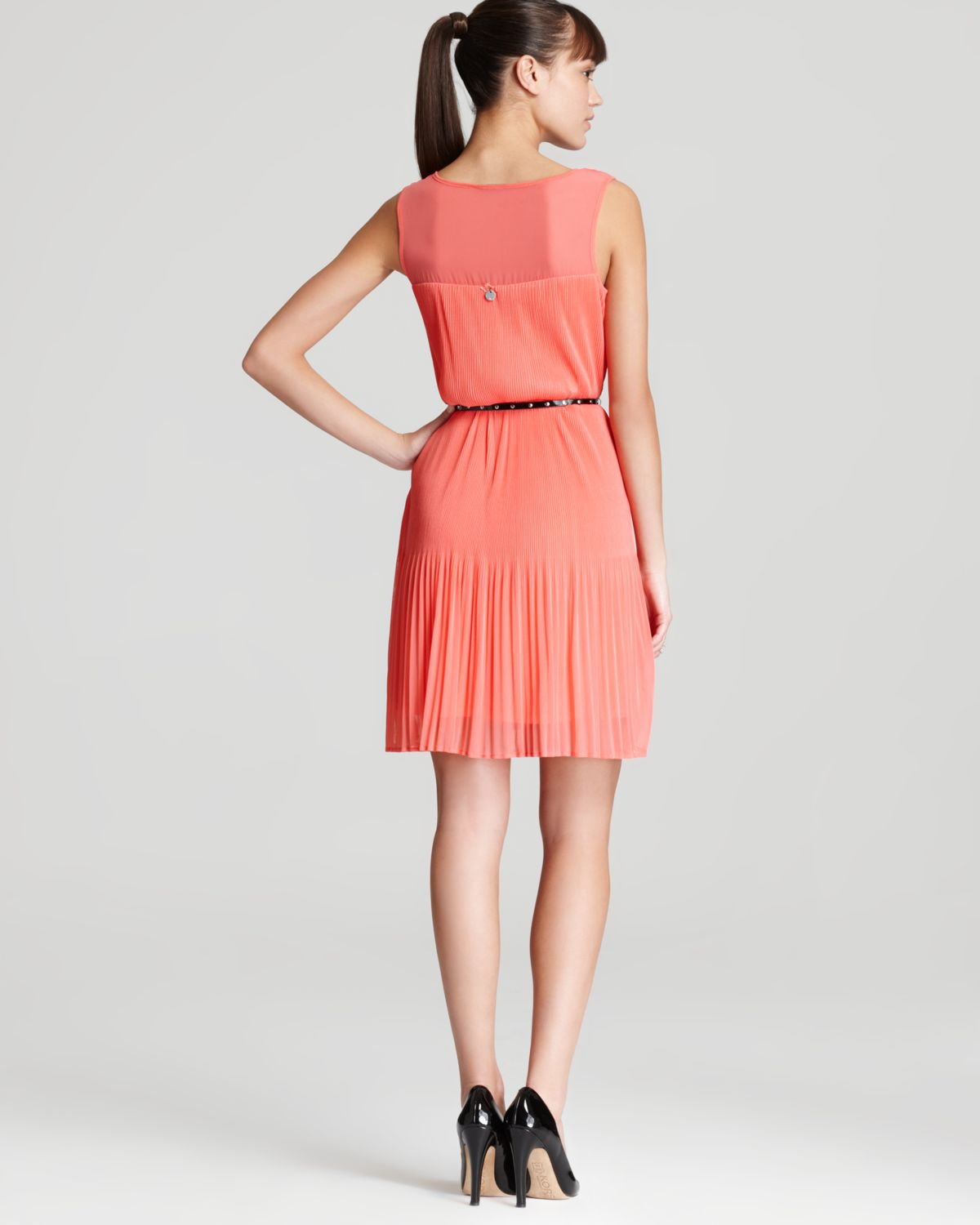 Guess Dress Caroline Belted In Coral (Pink)