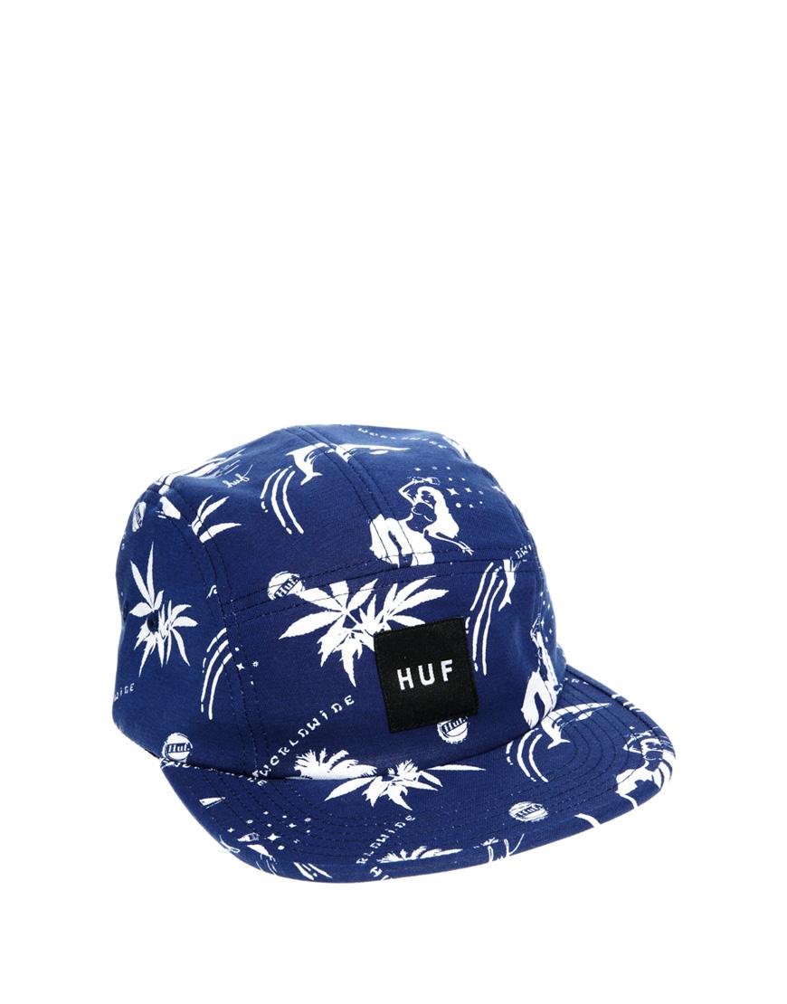bae58c2d0ad3e ... canada huf aloha aina bucket hat huf drunk aloha volley cap in blue for  men lyst ...