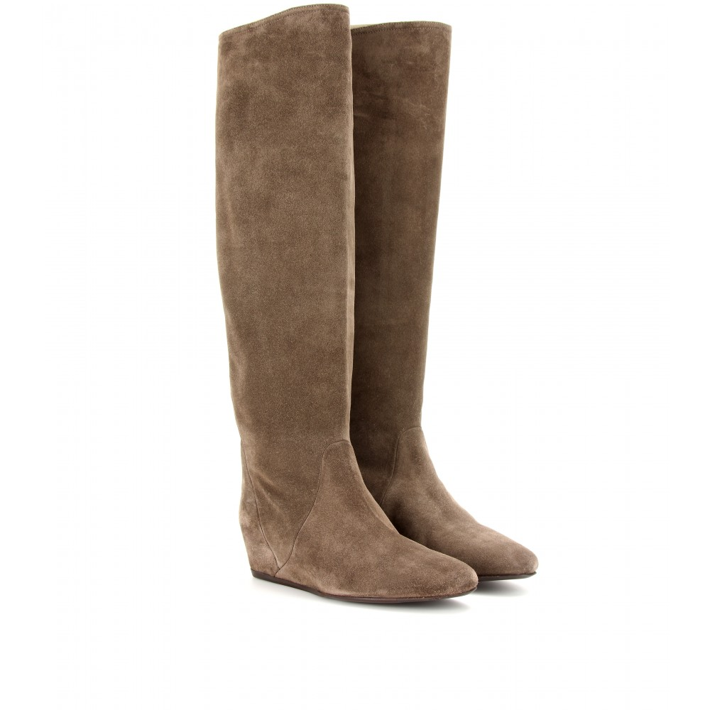 lanvin suede concealed wedge boots in brown lyst