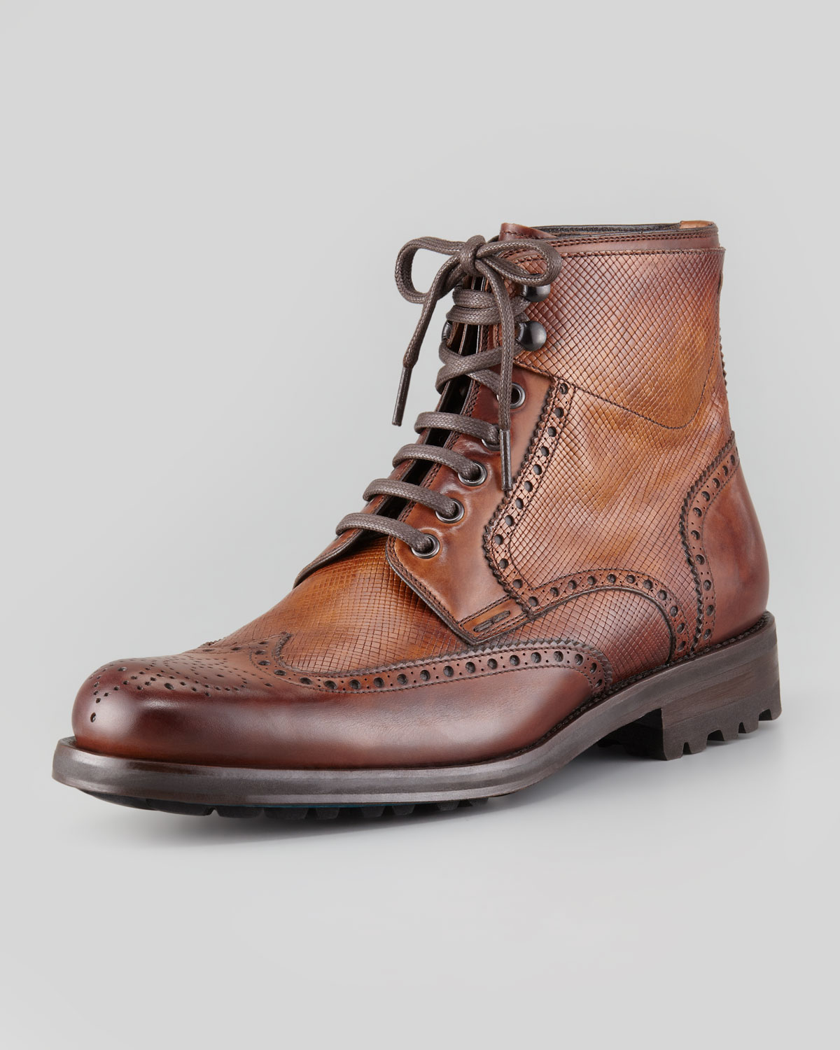 magnanni grainsmooth leather wingtip boot brown in brown