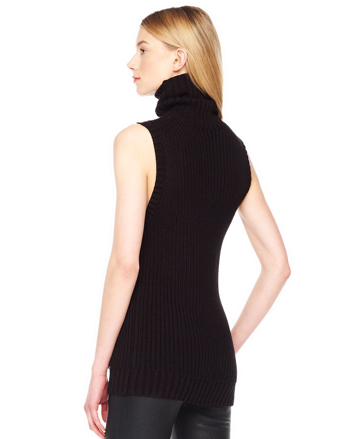 903d72a5fde7b Lyst - Michael Kors Ribbed Sleeveless Turtleneck in Black