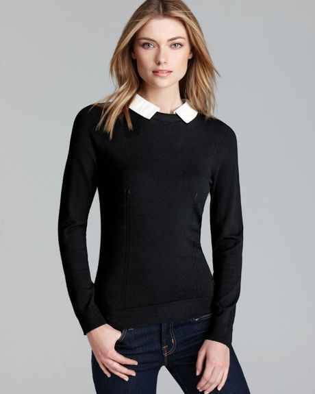 Womens Black Sweater With Feather Collar 78