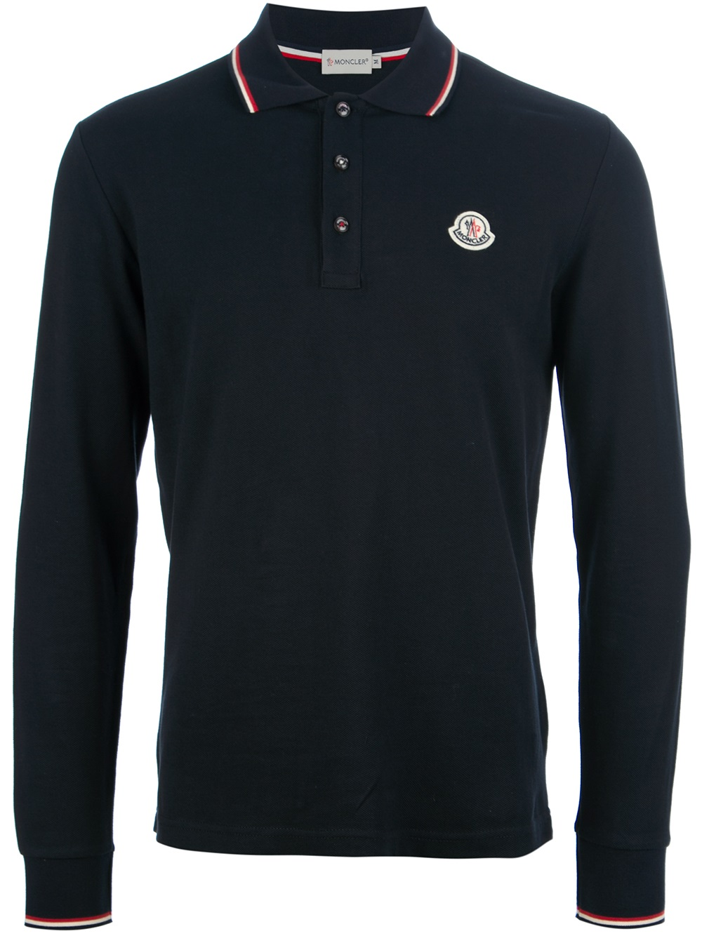 Moncler long sleeved polo shirt in black for men lyst for Polo shirt and jeans