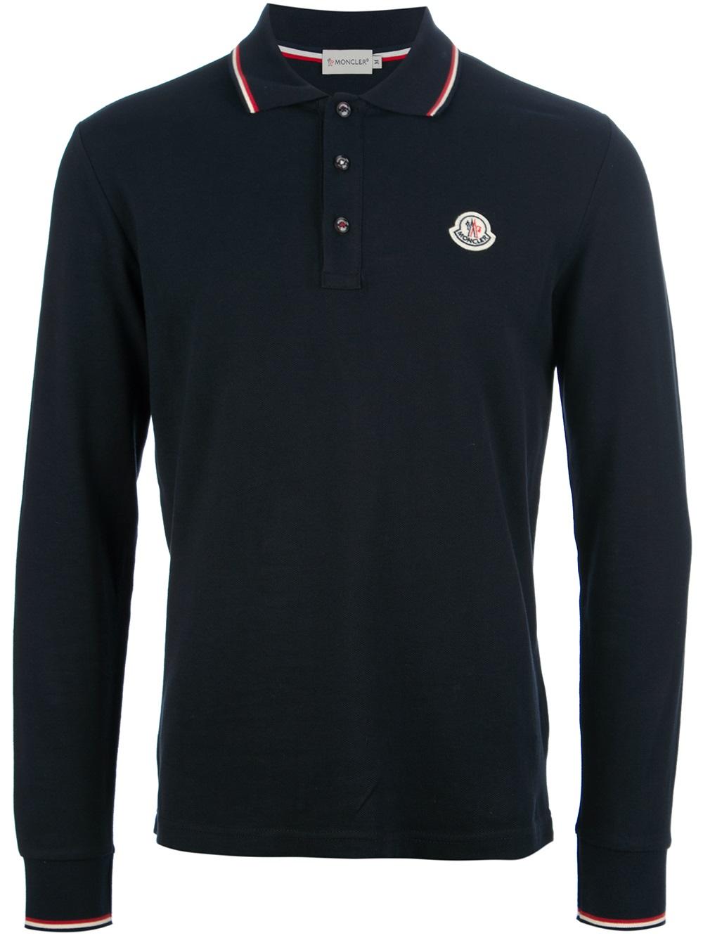 moncler long sleeved polo shirt in black for men navy lyst. Black Bedroom Furniture Sets. Home Design Ideas
