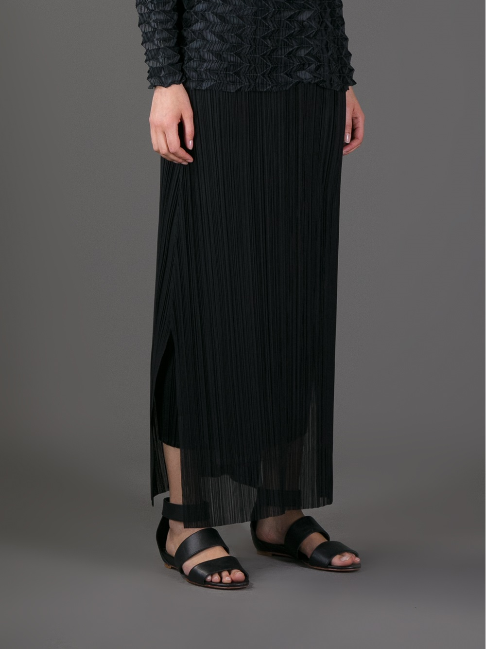 7d9b4021fe Pleats Please Issey Miyake Pleated Maxi Skirt in Black - Lyst