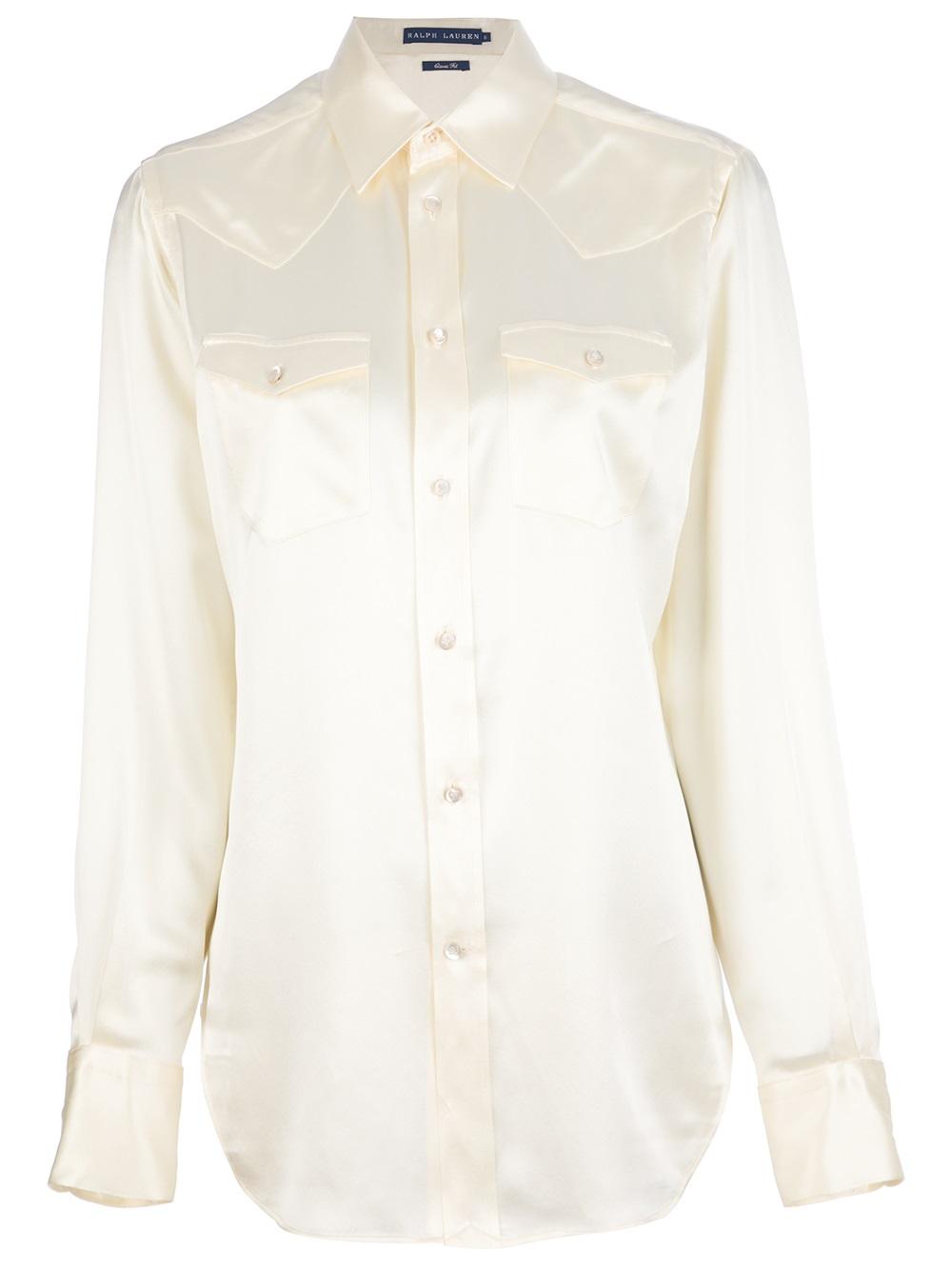 Lyst ralph lauren silk button down shirt in white for Silk button down shirt