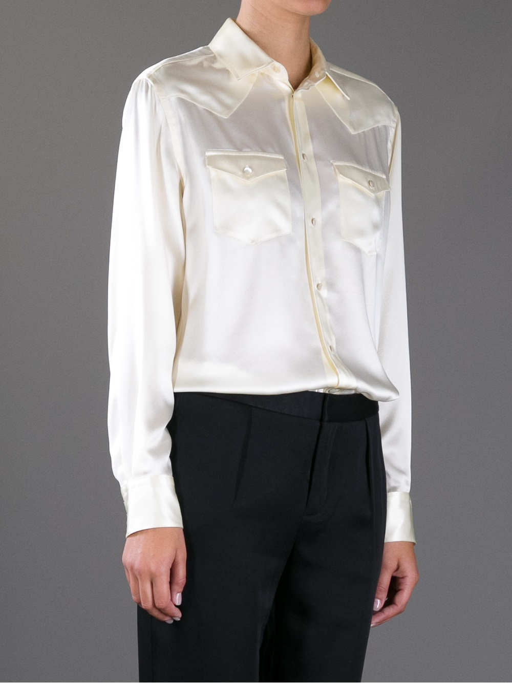Ralph lauren Silk Button Down Shirt in Natural | Lyst