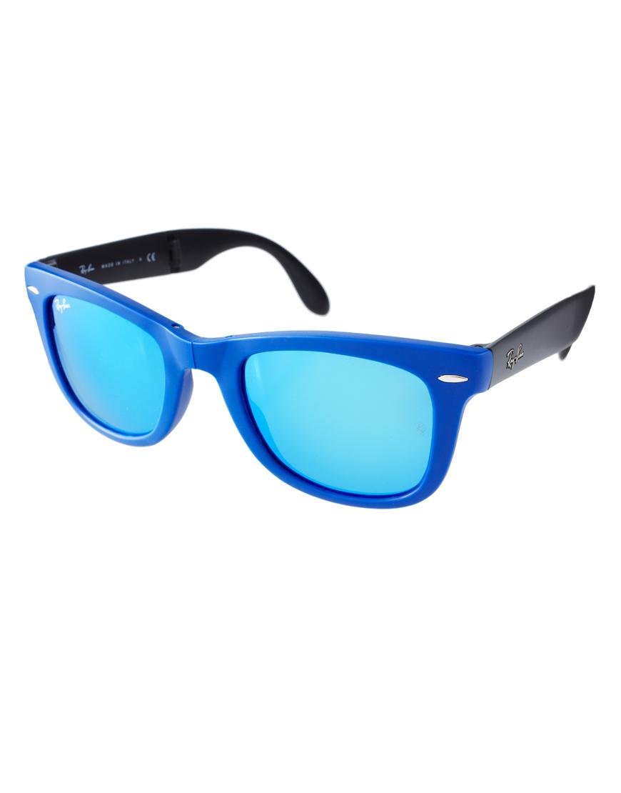 Ray-Ban Folding Wayfarer Sunglasses in Blue for Men - Lyst