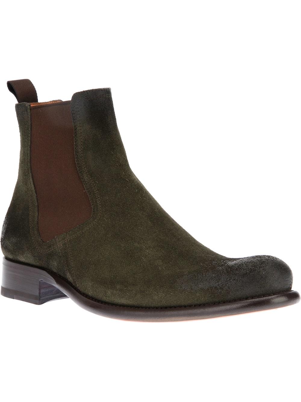 santoni chelsea boot in green for men lyst. Black Bedroom Furniture Sets. Home Design Ideas
