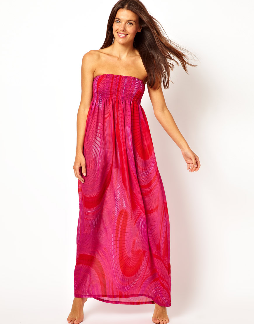 4cdfc9f1d496 Ted Baker Swirl Print Bandeau Maxi Beach Dress in Pink - Lyst