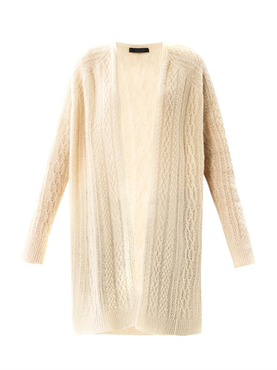 The row Cableknit Cashmere Cardigan in White | Lyst