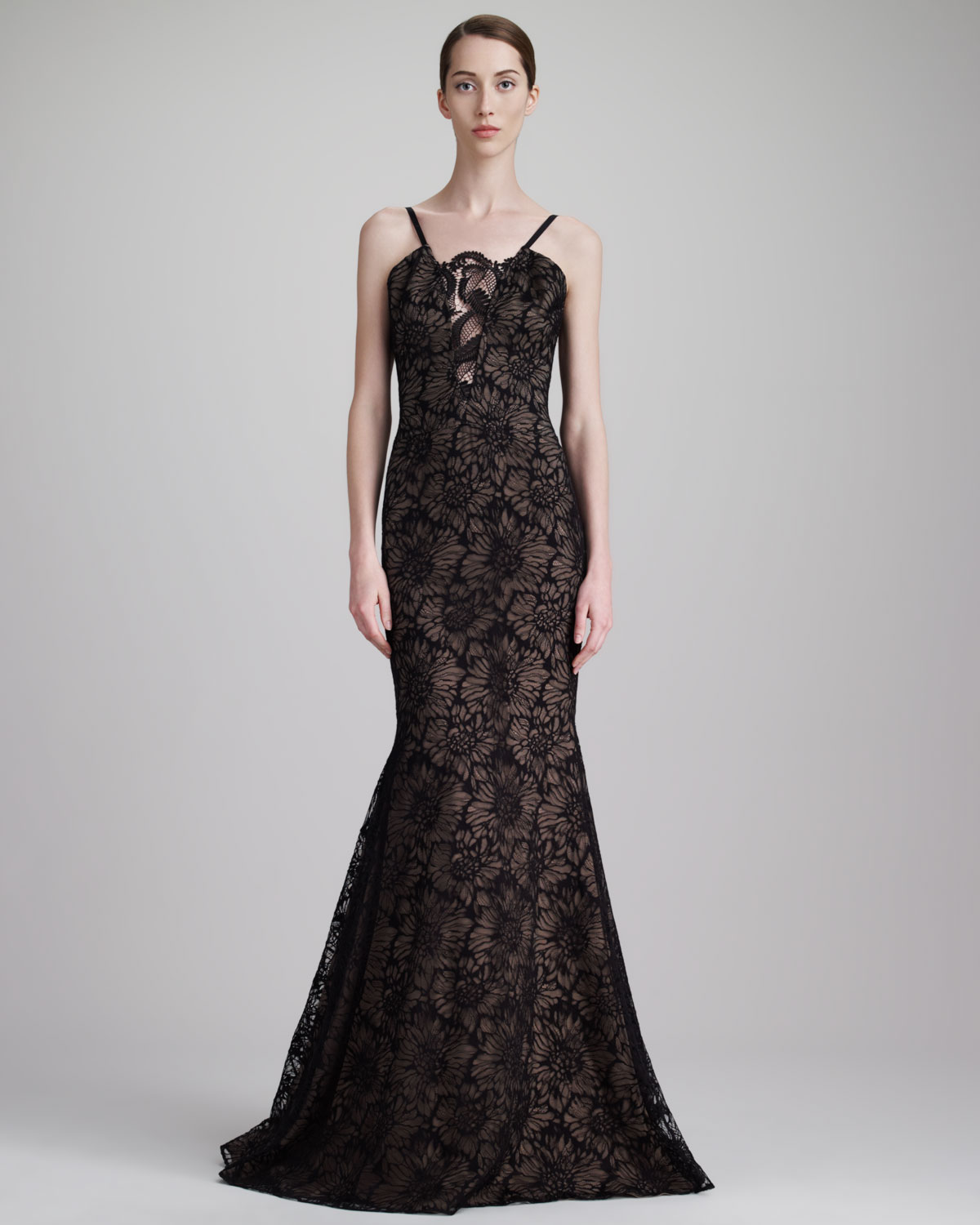 Floral Chantilly Lace Gown Black