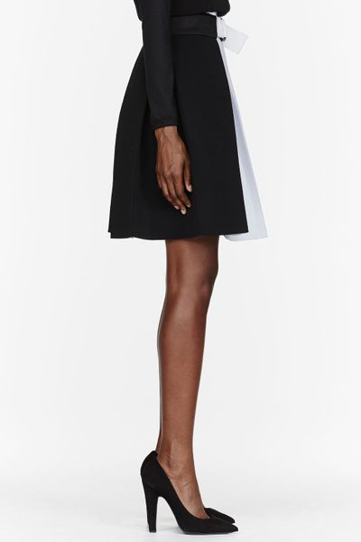 denis gagnon black and white high waisted pleated skirt in