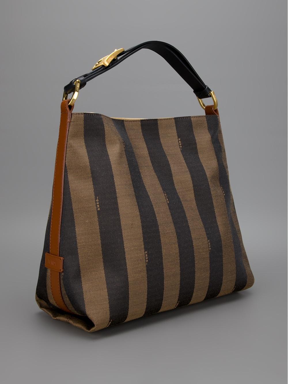 6faf0b4dbaad ... italy lyst fendi striped tote in brown 92da4 6c238