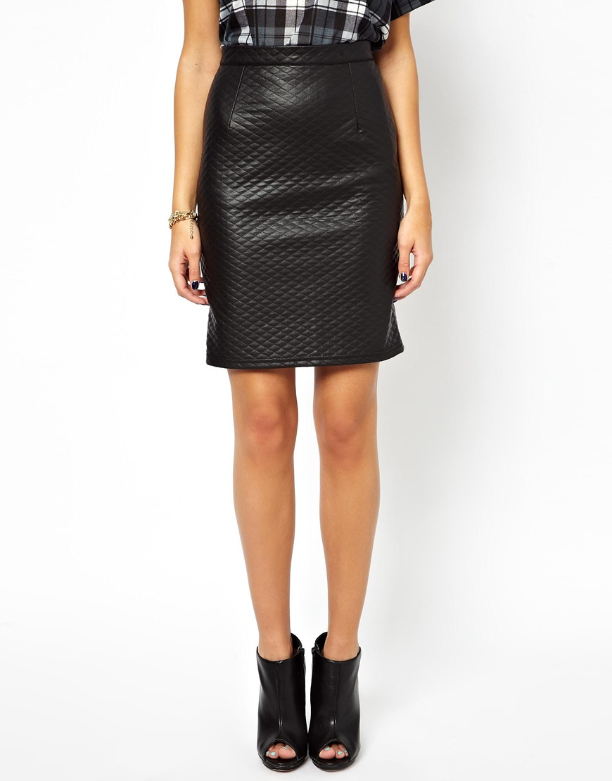 glamorous pencil skirt in quilted pu in black lyst