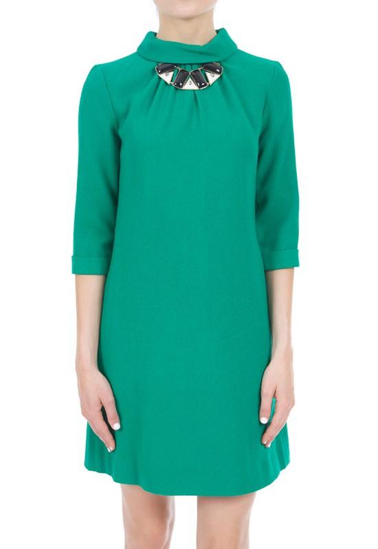 Goat sabine tunic dress in teal apple green lyst for Apple green dress shirt