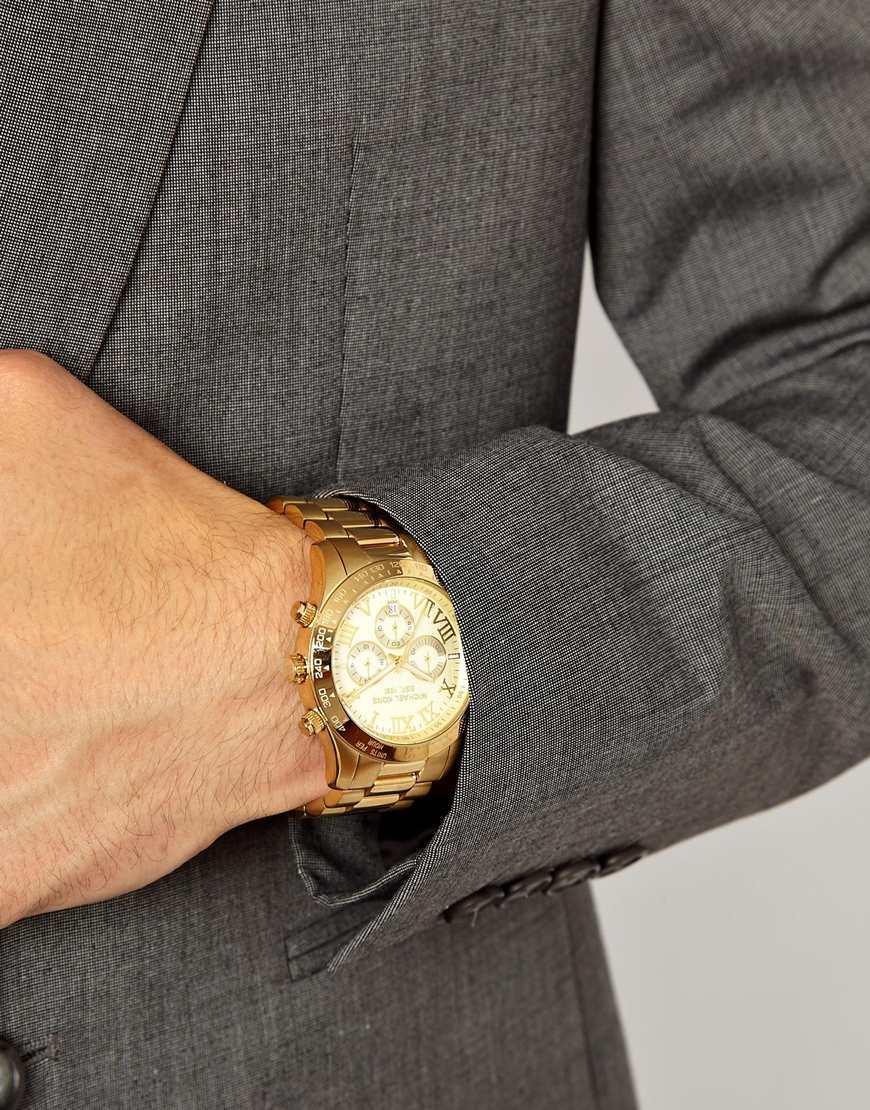 f49532a63fbc0 Michael Kors Watch Layton Goldtone Chronograph in Metallic for Men ...